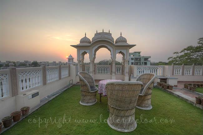 Om Niwas roof top garden, HDR of 3 exposures 2 stops apart
