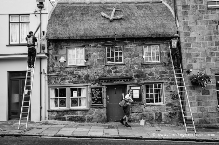 Thatching The Blue Anchor Helston UK 2014